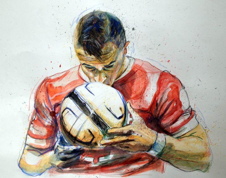 Xherdan Shaqiri, swiss football player, 2014. Aquarell, drawing on paper.