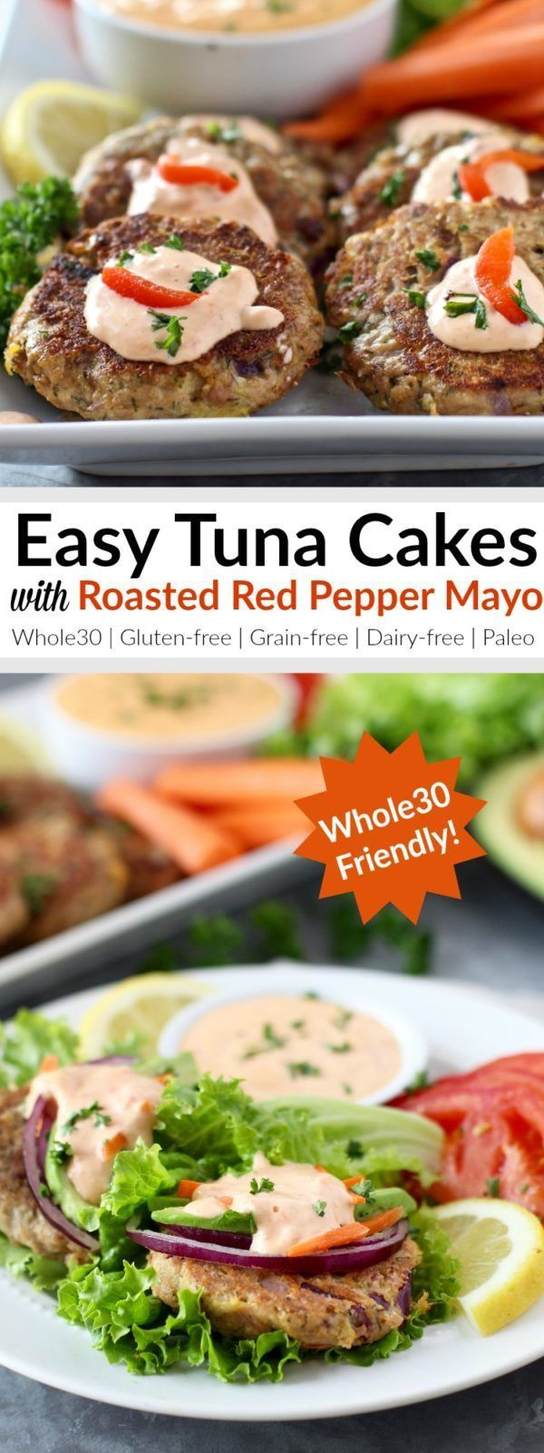 Put food on the table in less than 30 minutes with these Whole30-friendly, Easy Tuna Cakes that are topped with a 3-ingredient Roasted Red Pepper Mayo. A recipe that's fast, healthy and delicious and one that everyone will love! | Whole30 | Paleo | Grain-free | Gluten-free | Dairy-free | http://therealfoodrds.com/easy-tuna-cakes/