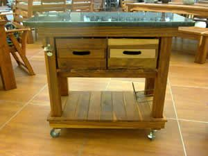 Teak and Granite top trolley with a wine rack and bottle opener suitable for indoor or outdoor use going for R4999.00