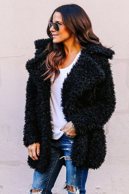 61dd975b000 Winter black Teddy Bear Faux Fur Coat Jackets. Fall fashion outfits casual  chic classy edgy. Autumn look inspiration ideas.