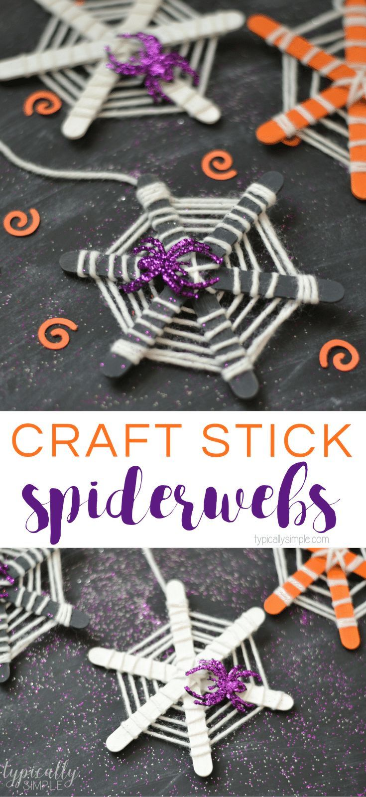 Make these super cute craft stick spiderwebs with the kids for Halloween! These make a great craft project for classroom parties or for a family fun night!