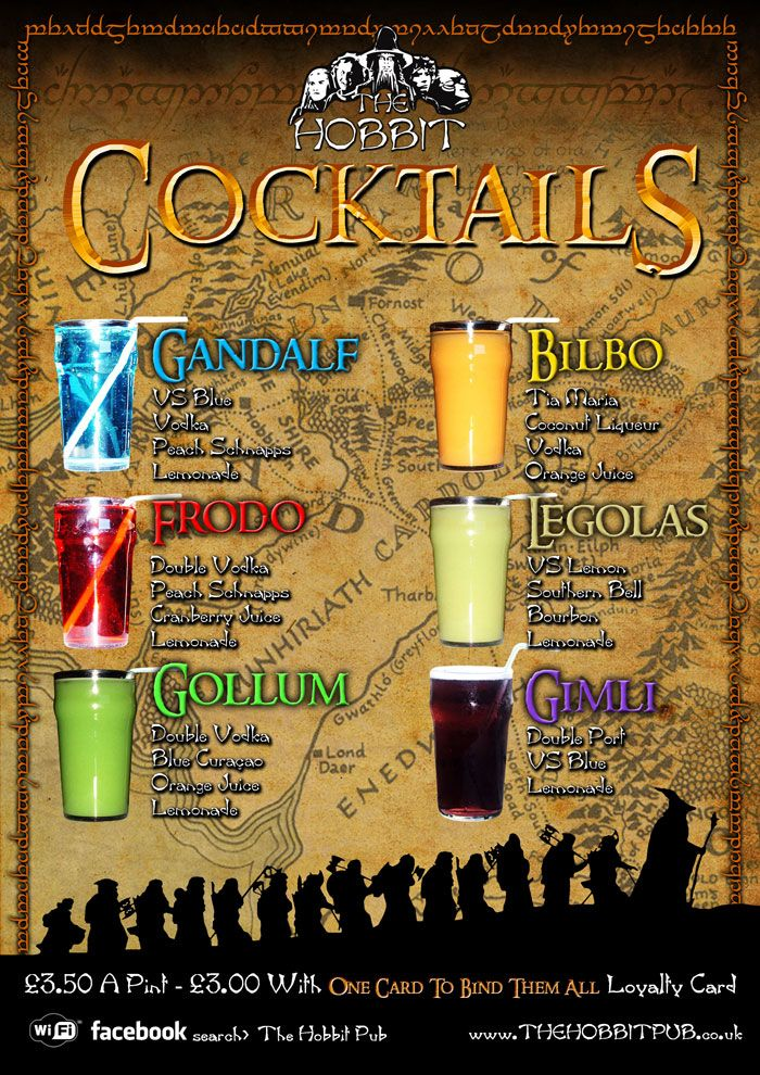 Lord of the Rings Cocktails