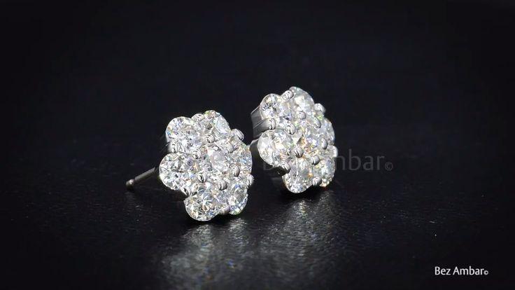 Seven stone diamond cluster earrings from Bez Ambar