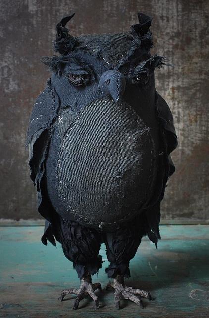 Denim Owl - I love this owl - She's a true artist!