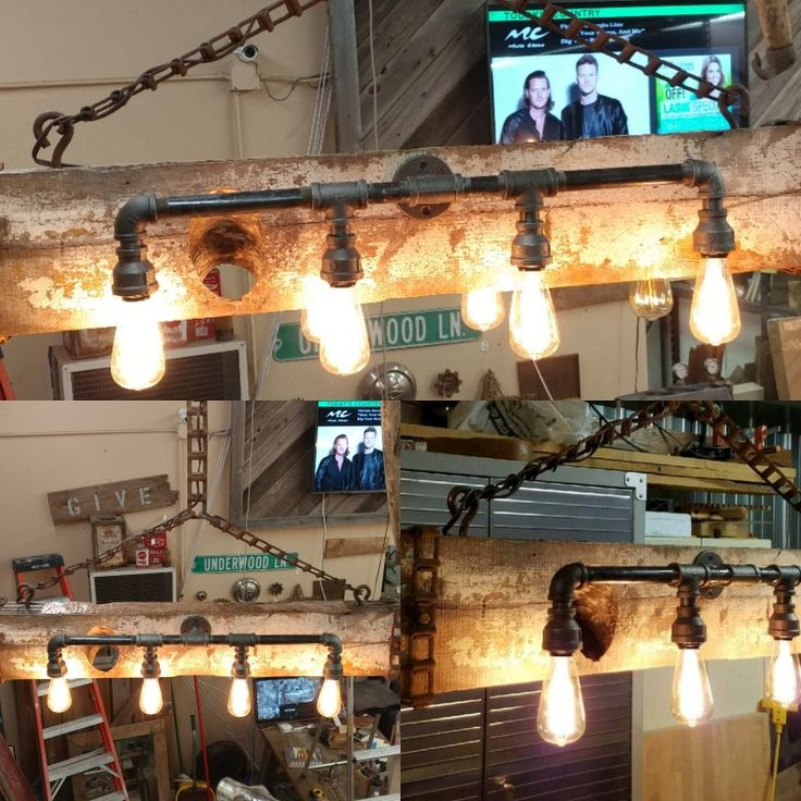 Barn wood light! This gorgeous Barnwood pendulum light was built with antique chain, hooks and a 100 year old circle sawn beam! Come in and Shop to build your own, buy one at the shop or hire us to build you one!  http://www.facebook.com/rusticrevivalbarnwood  #reclaimed #rustic #barn #wood #rusticrevivalbarnwood #minnesota #mantel #yoke #pendulum #light #edisonlights #edisonbulb
