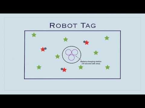P.E. Games - Robot Tag; need Hula Hoops, dodgeballs, cones