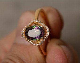 Corte Oval de Topacio místico anillo anillo anillo de plata chapado oro amarillo