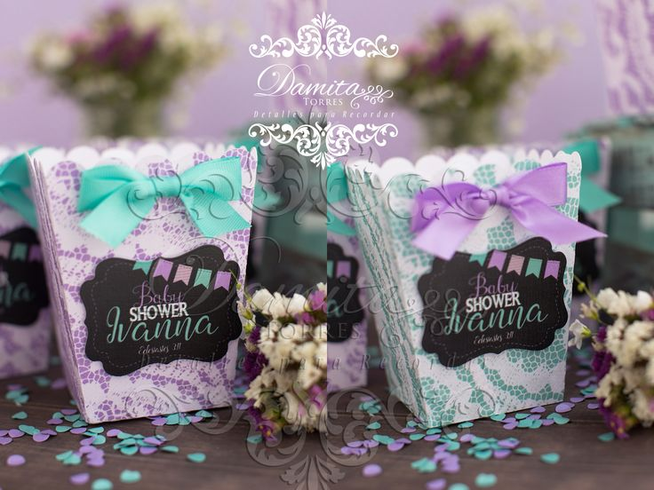baby shower, box, favor, shabby chic