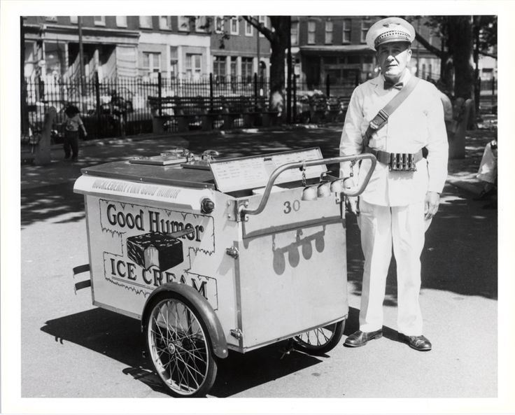 """""""Good Humor Vendor with Pushcart,"""" 1961. Silver gelatin on paper. via @National Museum of American History, Smithsonian"""