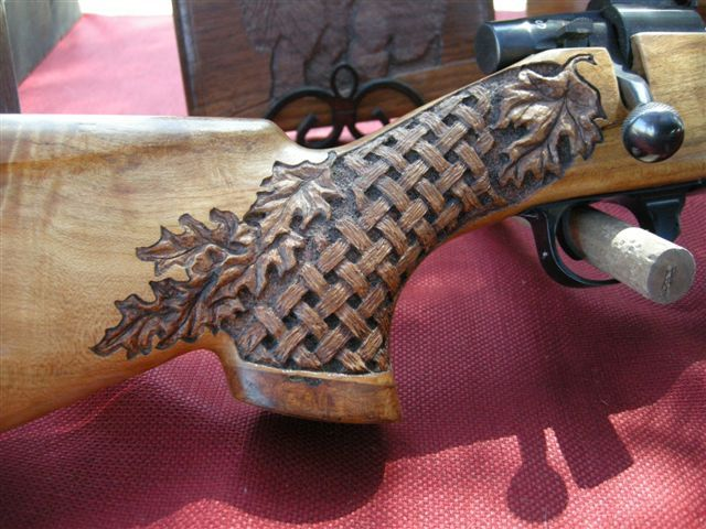 Oak Leaves and Basketweave carving