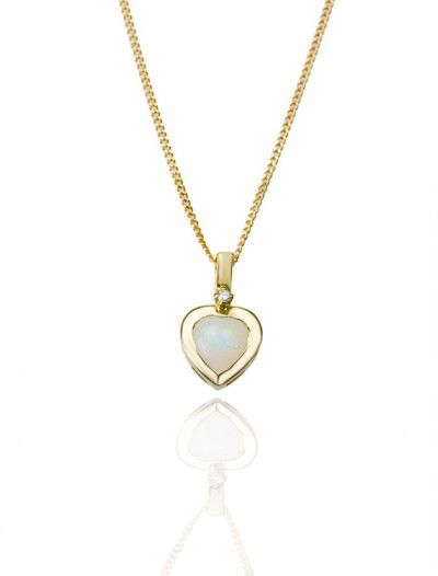 9ct Opal & Diamond Pendant - Available at Onyx Goldsmiths