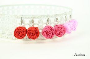 Rose orecchini rossi, lampone, rosa, fatti a mano, senza nickel, orecchini eleganti in stoffa, orecchini semplici, fatti in Italia di Lanatema su Etsy