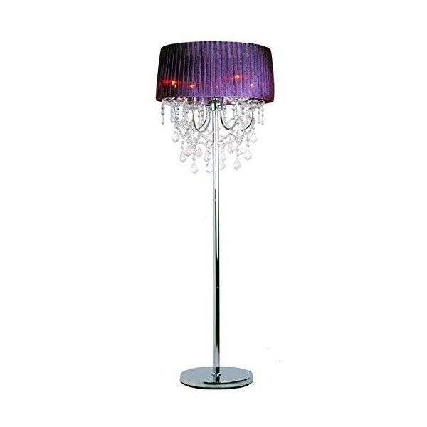 Modern Crystal Living Room Floor Lamp European Fabric Bedroom Bedsides... ($300) ❤ liked on Polyvore featuring home, lighting, floor lamps, modern lamps, crystal lamps, purple floor lamp, fabric lamp and crystal lights