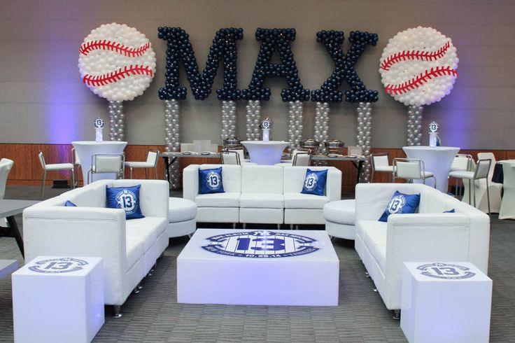 Yankees Themed Lounge Yankees Themed Lounge with Custom Pillows, Logo Decals & Name in Balloons with Baseball Sculptures