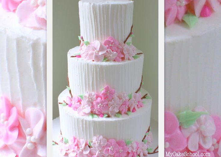 Beautiful Buttercream Cherry Blossom Cake! MyCakeSchool.com Member Cake Decorating Video Section- Online Cake Decorating Classes & Cake Recipes!