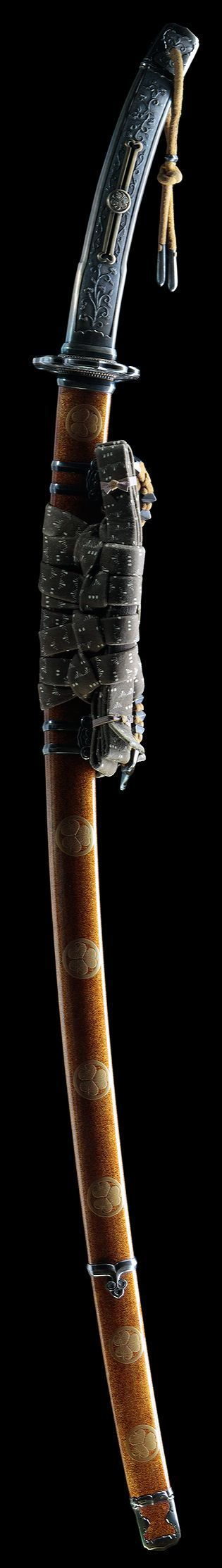 A tachi sword. Similar to the katana, these swords were worn by the samurai class of feudal Japan.  #swords