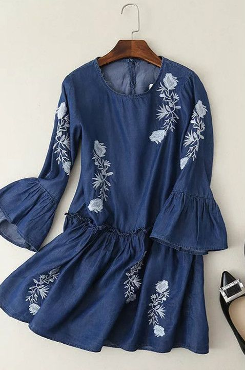 Dress this Embroidery Graphic Denim Dress up and you'll be comfy and cute all day long. More surprise at AZBRO!