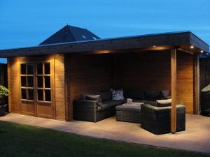 Modernvarioflex M28J 300x300+370x320ad Modern Tuinhuis Blokhut met plat dak en luifel
