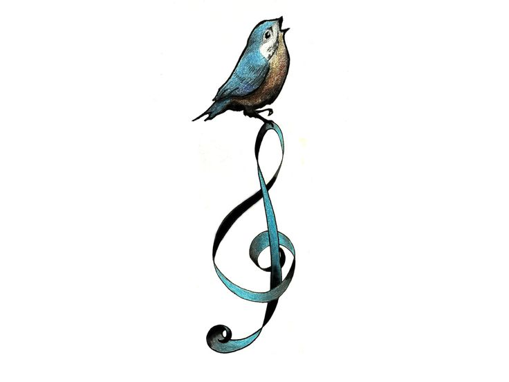 Blue and brown singing bird tattoo Wallpaper
