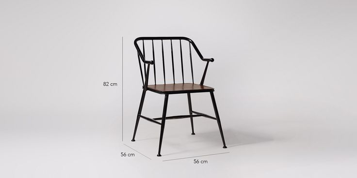 Swoon Editions Dining chair, mid-century style in mango wood and Black steel…