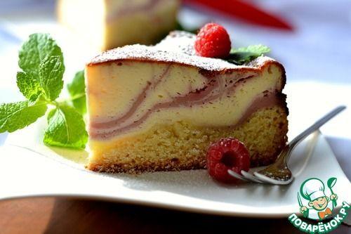 """Творожный пирог """"Малиновые волны"""" - кулинарный рецепт"""