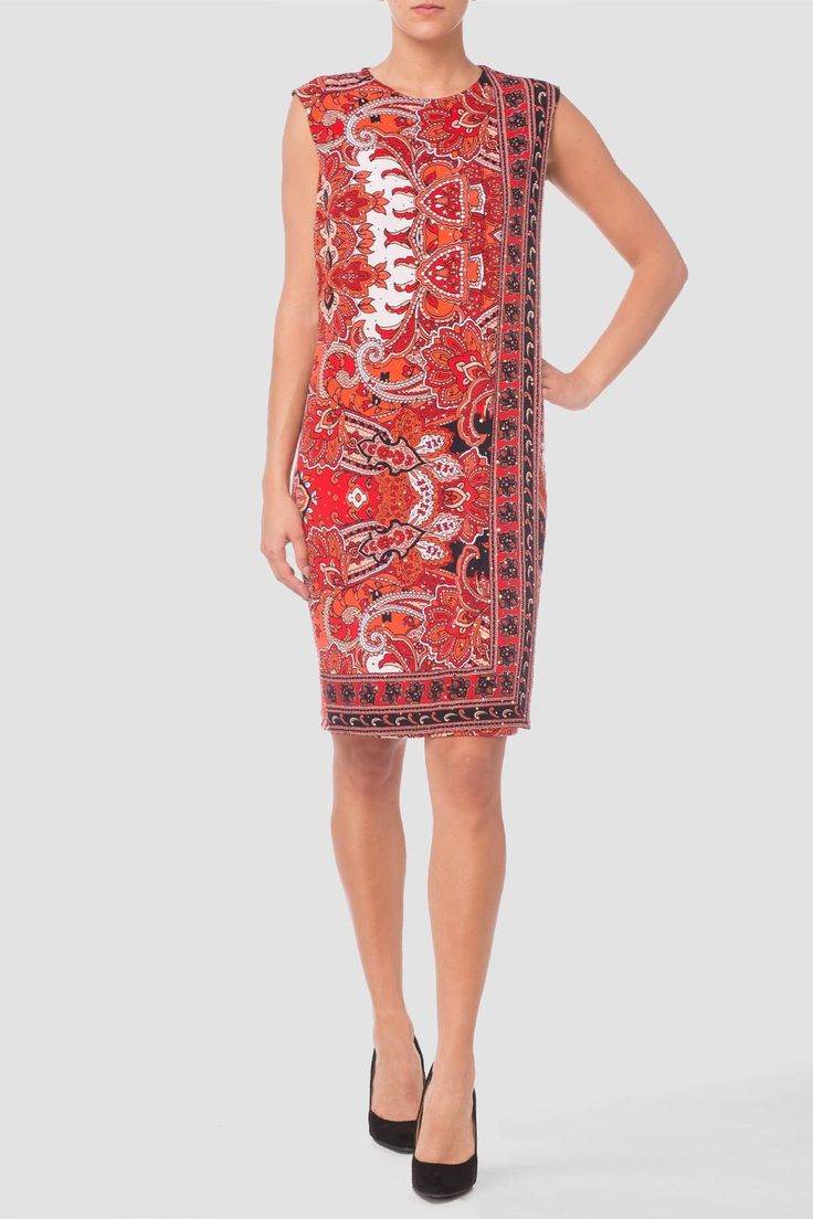 This bright, beautifully patterned sheath dress has a layered front panel that falls, unstructured, to a knee length hem. Gold spangling scattered throughout the dress charms.    Paneled Sheath Dress by Joseph Ribkoff. Clothing - Dresses - Sheath Canada