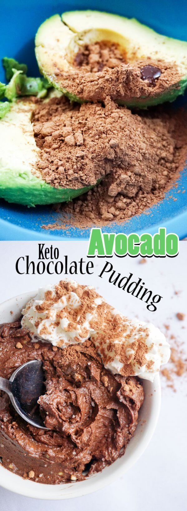 With only two ingredients you can make this delicious Chocolate Avocado Pudding for an indulgent after dinner dessert! (low carb pudding desserts)
