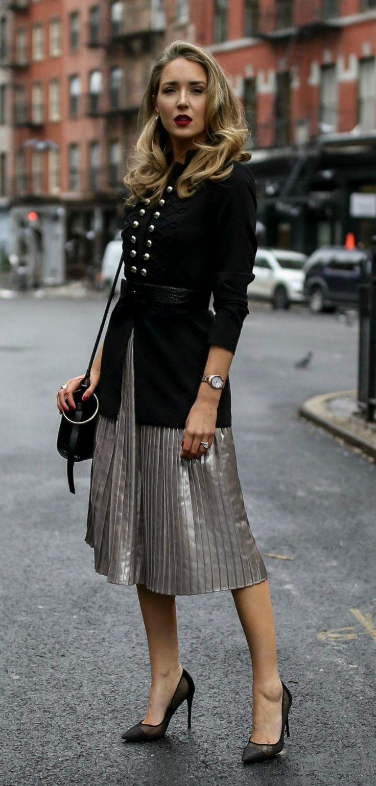Military-inspired details! // Pleated metallic midi skirt, military-inspired jacket with a black embossed waist belt, black shoulder bag, rose gold watch and black pumps {Tommy Hilfiger, Steve Madden, holiday style, classic style, workwear, what to wear, winter outfits, fashion blogger}