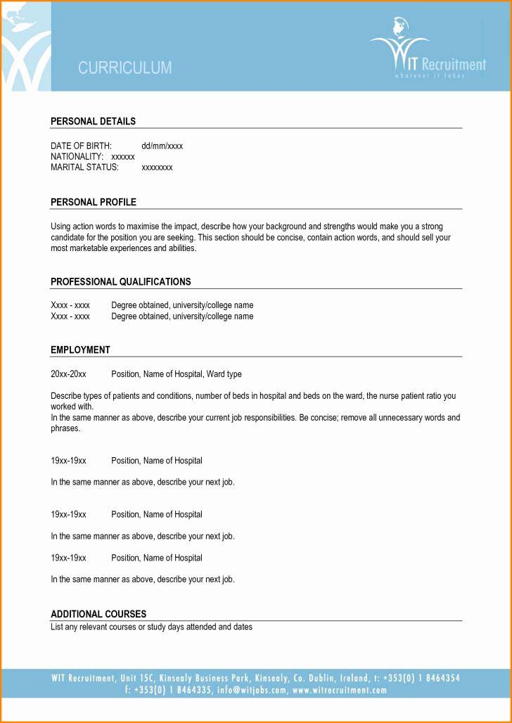 Blank Resume Template Pdf Inspirational Blank Cv Template ...