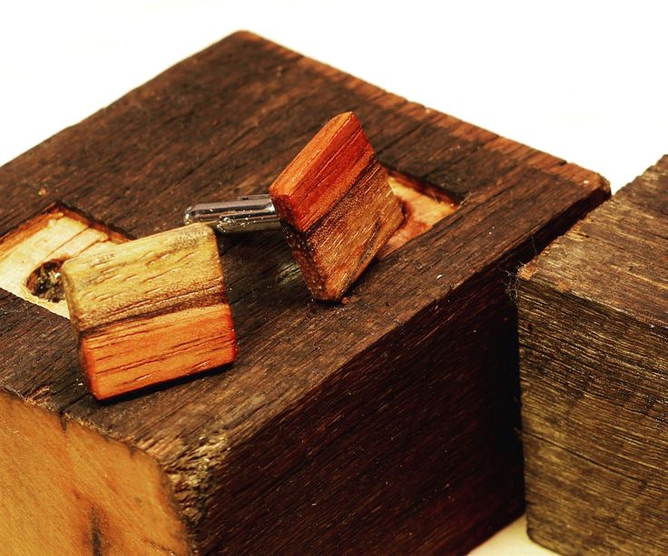 Wooden Cufflinks With Rustic Display Stand From Reclaimed Wood