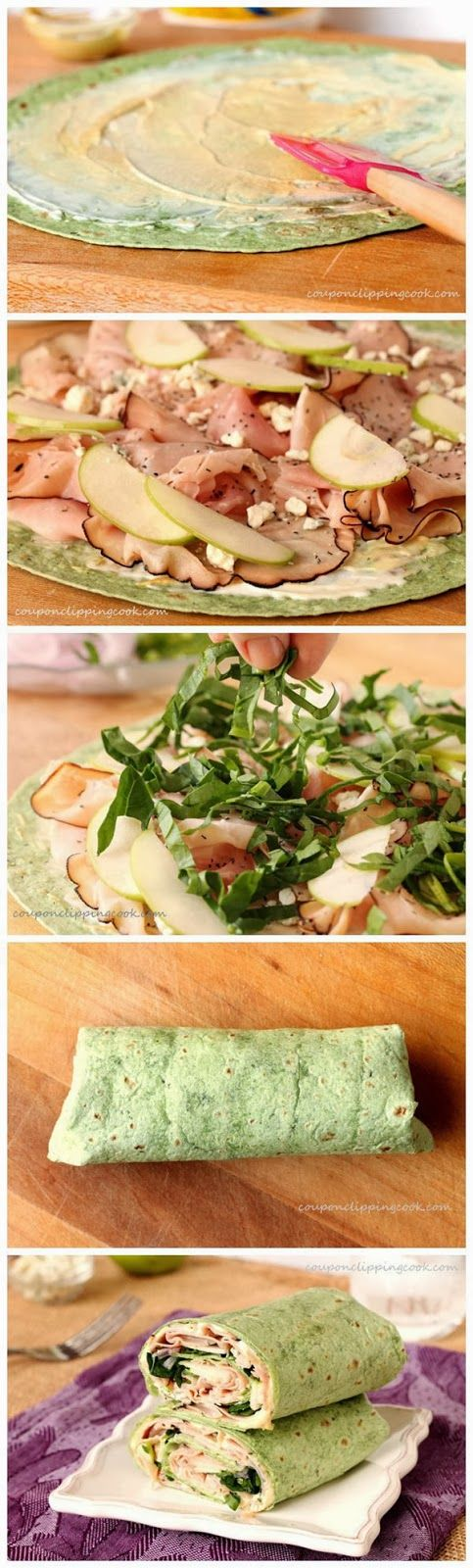 Ham, Apple & Blue Cheese Wraps.... I'd do it with Turkey but this still sounds yummy!