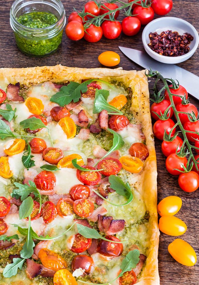 This super colourful bacon and tomato tart is one of my less time cooking and more time having fun recipes.