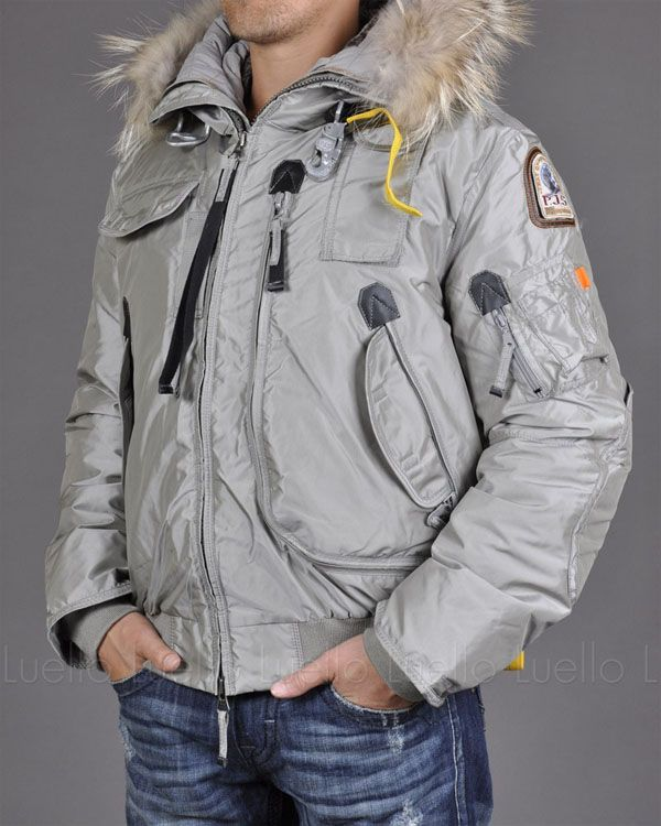 PARAJUMPERS Gobi Men Grey Masterpiece Down Bomber Jacket