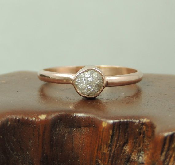 14k Rose Gold Uncut Diamond Ring, Rough Diamond, Handmade Engagement Ring, Uncut Diamond Ring Conflict Free Diamond, Raw Diamond on Etsy, $535.00