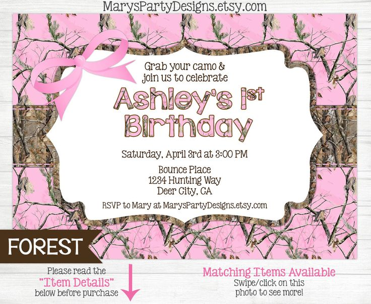 Pink Camo Birthday Invitation - Girl Hunting 1st First Teen 15 16 18 Invites Camouflage Hot Pink - Printable Invites Invitations Baby Girl Birthday Hot Pink Camouflage Hunting Camo Deer Party Oh Deer Woods Photo Picture Printed Envelopes Digital Jpeg Jpg Pdf First Teen Preteen Printable Diy 1st Hunting Camouflage oak maxx 2nd 3rd bow baby shower sprinkle MarysPartyDesigns 15.00 USD