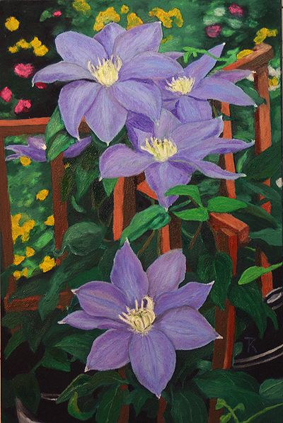 """Blue Clematis"", 6 x 4"", oil Pastel."