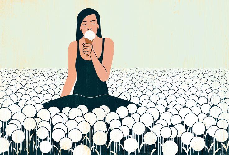 Joey Guidone - A Question of Taste. Girl, Meadow, Dandyclock, Iceream, Spring, Poster, Conceptual, Digital art