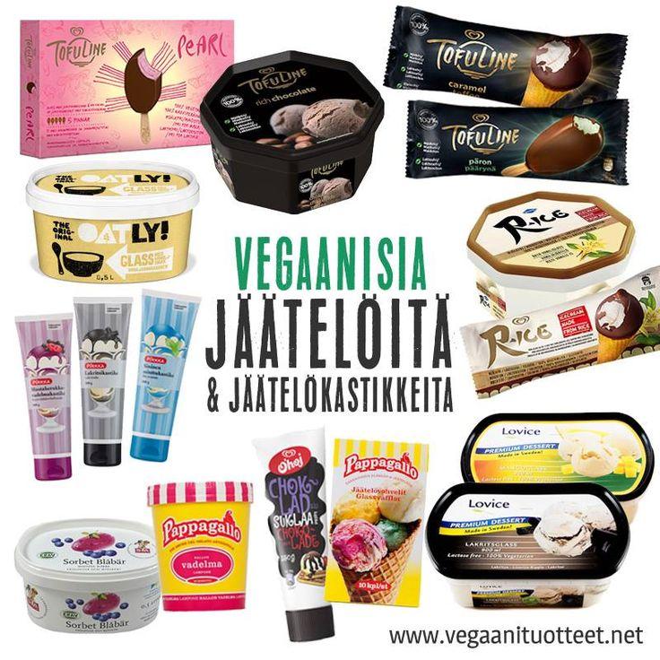 Maidottomia jäätelöitä, sorbetteja ja jätskikastikkeita. Jäätelöannoksia voi ehostaa kastikkeiden lisäksi erilaisilla murustelluilla kekseillä, vohveleilla, vegaanisilla vaahtokarkeilla, strösseleillä, pähkinärouheilla, hedelmillä, marjoilla tai hillolla.  Vegaaniset jätskit, mehujäät löydät listoina tästä linkistä: http://www.vegaanituotteet.net/herkut/jaeaeteloet-jaelkiruuat