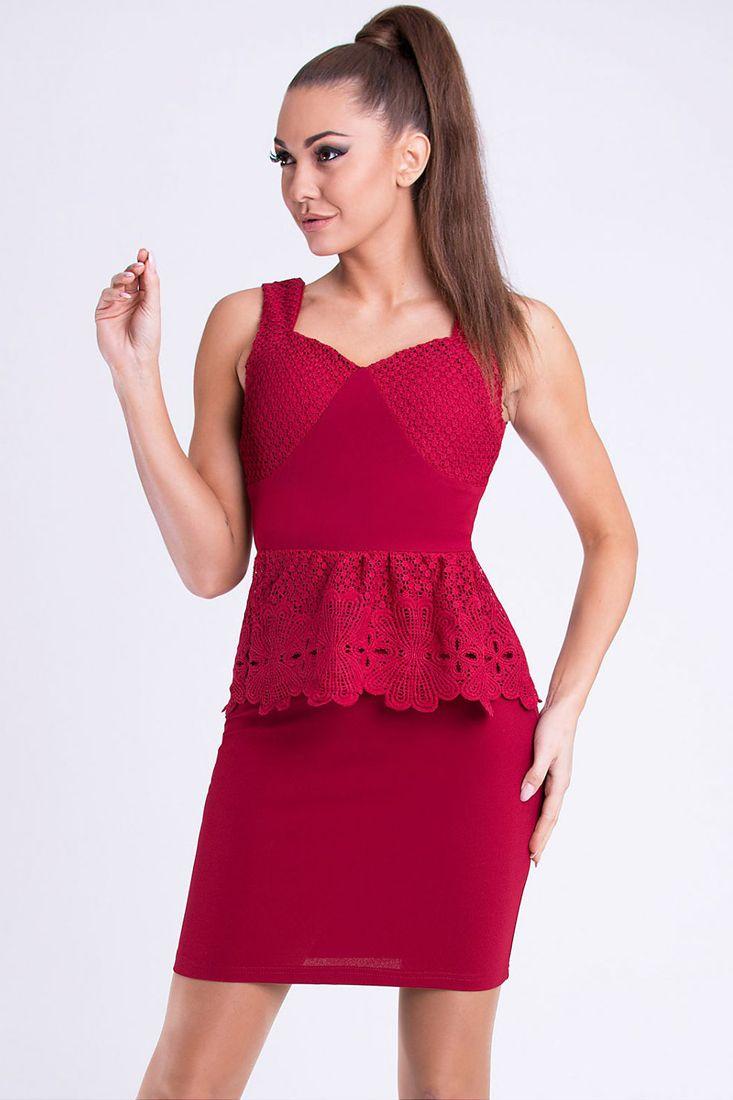 Lace Trim Peplum Dress - Shop Designer Short Peplum Dresses.
