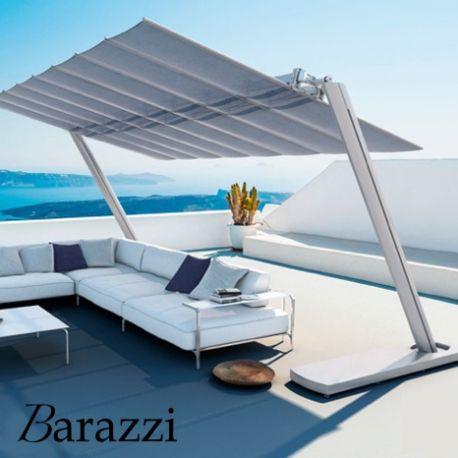 Grand Parasol Autoportant Flexy Zen en Aluminium Anodisé et Toile Inclinable Rétractable