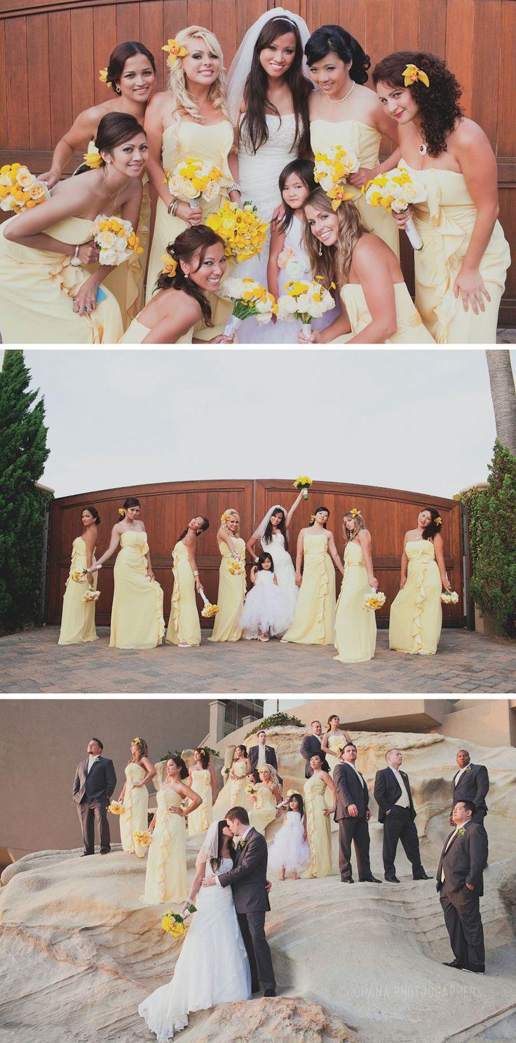 beach weddings in orange county ca%0A yellow bridesmaid dresses  wedding at surf and sand resort in laguna beach