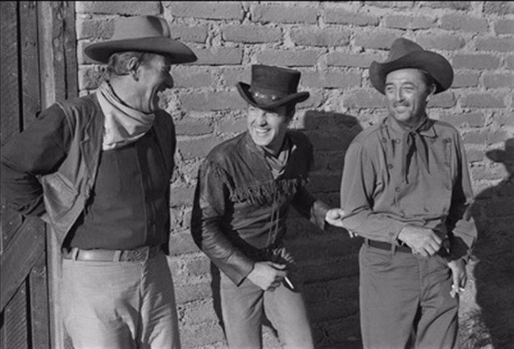 January 1966 ~ El Dorado ~ John Wayne, James Caan and Robert Mitchum are seen sharing a laugh during final filming at Paramount Studios in Hollywood. El Dorado's first television broadcast was on September 19, 1971. It received an audience share of 40 percent, the movie was one of the ten most watched programs of the weekhttps://www.facebook.com/johnwayne/photos/a.156450431041410.34501.118695621483558/189026061117180/?type=3