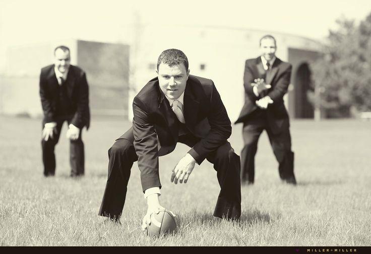 Fun football wedding day photos | Miller + Miller Photography | Bride Meets Wedding Vendor | #footballgroom #weddingideas