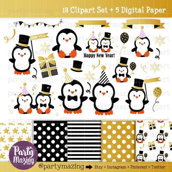 new year penguin clipart gold party kawaii graphics kawaii clipart christmas clipart commercial use kawaii d239 by partymazing