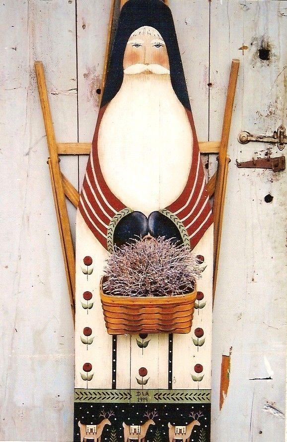 Prim Folk Art Santa / St. Nick Ironing Board by folkartbydonna