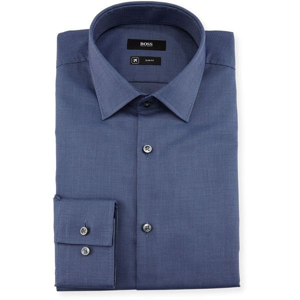 Boss Textured Solid Slim-Fit Travel Dress Shirt (10.395 RUB) ❤ liked on Polyvore featuring men's fashion, men's clothing, men's shirts, men's dress shirts, navy, mens travel shirts, mens navy blue dress shirt, mens cotton dress shirts, mens woven shirts and mens dress shirts
