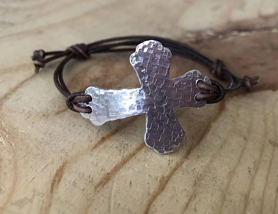 Adjustable Cross bracelet Sideways cross bracelet leather cord