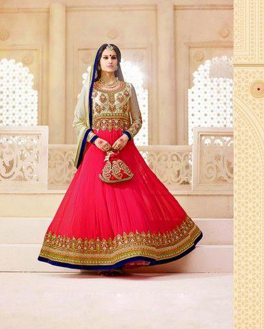 Pink floor length anarkali with embellished yoke (Semi-Stitched Fabric – Rutbaa India