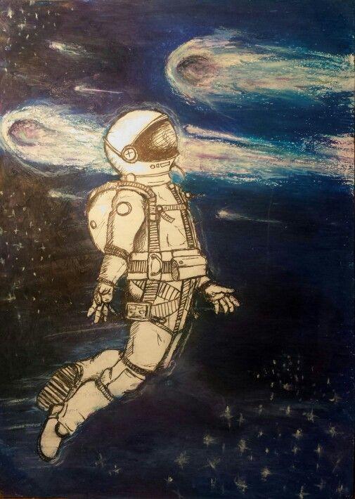 Space Oddity, oil pastels
