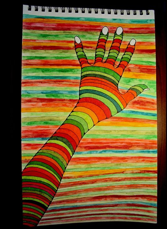 Draw Doodle and Decorate: Optical Illusion Hand